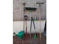 Garden hand tools 7 items fork,rake,hoe,weeder,brush loppers,watering can