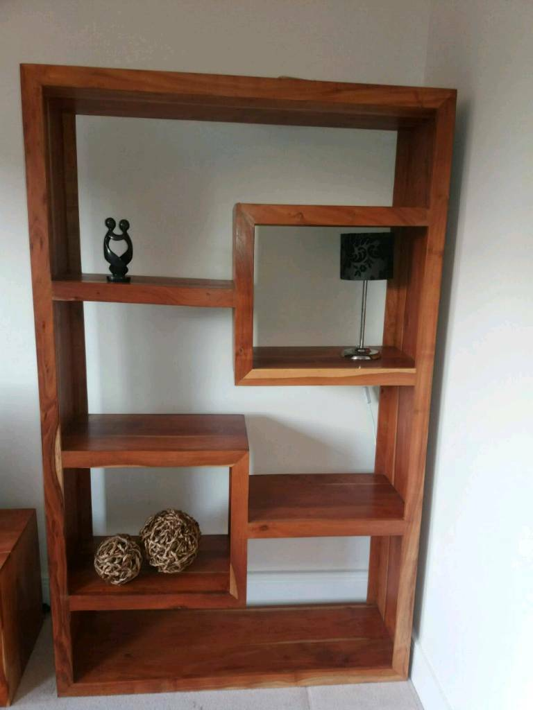Large bookcase display shelving unit. Solid wood