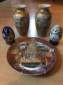 Oriental mint condition ceramics collection (vases, plates & eggs)
