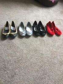 4 pairs of girls shoes size 12 some never worn