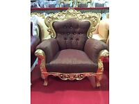 Ex Display Venice Asian Wedding Armchair Chaise Brown Gold leaf Baroque Carved Stage French Chic