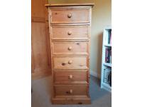 Antique pine 'Tallboy ' 6 draw chest.