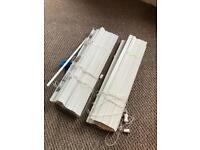 Pair of white wooden Venetian blinds, brand new