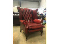 Oxblood red chesterfield wingback chair