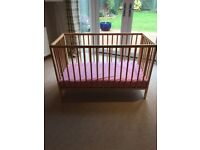 Small cot and mattress, will include some bedding
