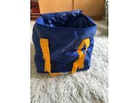 Cool bag - blue nylon with yellow fabric handles on 2 sides. Brand new - wine bottles, cans, food