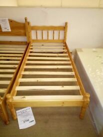 Solid pine single bedstead new ex-display