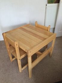 Children's Solid Wood Table & 2 Chairs