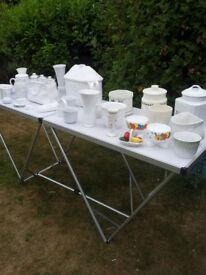 white ceramic pots and ornaments