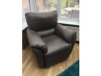 Natuzzi Electric Reclining Leather Armchair and Foot Stool - Mink Colour, Excellent Condition