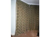 Green and gold curtains - over 3 m wide