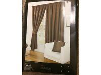 luxury brown faux silk curtains