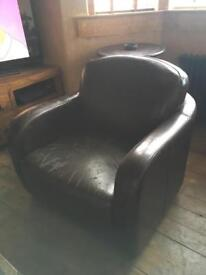 Brown leather look club arm chair