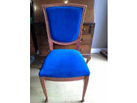 Blue velvet wooden dining/banqueting chairs 1 with arms 1 without