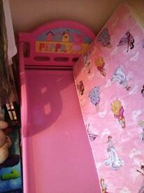 Peppa pig kids bed and mattress nearly new excellent condition