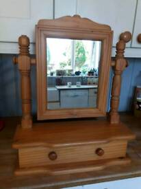 Solid pine vanity mirror with drawer