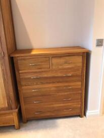 Solid oak drawers and wardrobe