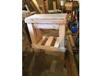 Pine chopping block / table /work station