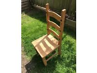 Dining chairs x 4 - Mexican pine high back matching dining chairs