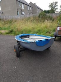 Small Fibreglass Dinghy with Trailer Oars and Cover