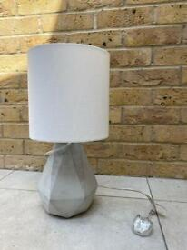 Grey lamp with white shade £15