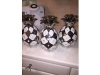 Three large White and silver Pineapple jars