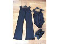 Black leotard, jazz pants & tap shoes