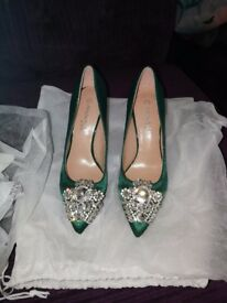 Emerald green embellished Court shoes