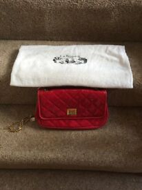 L K Bennett Fuschia pink patent clutch bag with suede interior
