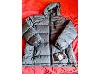 NEW Trespass Clip Mens Heavyweight Winter Padded Jacket with Hood Medium, Grey