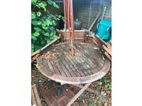 Garden table and 4 x chairs. Parasol and base.
