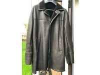 Mens real sheepskin coat/jacket size large worn once excellent condition