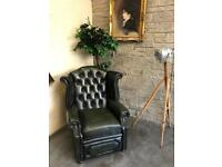 Genuine Chesterfield green Queen leather Anne Armchair Retro Vintage Armchair