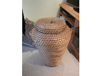 Large rush/wicker oval round laundry basket