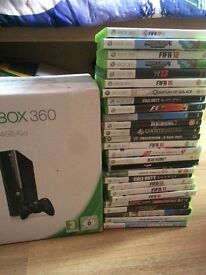 Xbox 360 with quantity of games including FIFA 17