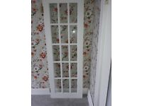 Set of 2 french doors 196cm by 69cm painted white