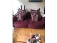 Two three seater sofas plus pouffe