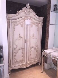 Sweetpea & Willow Distressed Antique White Raffaella Louis XV Armoire - Wardrobe - Brand New Unused