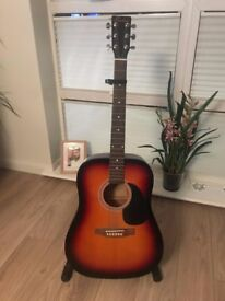 Boston Full Size Acoustic Guitar with Stand and Capo