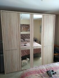 Large 4 Door Wardrobe 2 bedside Cabinets and 1 chest of drawers