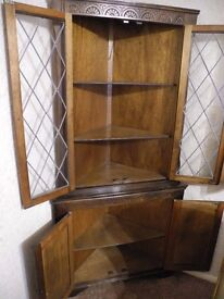 Old English Style Corner Cabinet