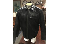 """Splendid Vintage Mens Black Real Leather Classic Style Jacket Crafted By """"Angel's"""" - Large"""