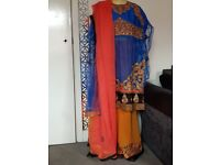 Orange and Blue Sharara - UNSTITCHED