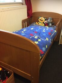 Kids bed cum cot plus mattress solid wood/excellent condition