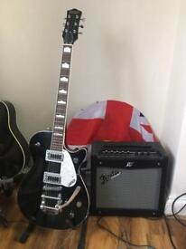 Gretsch guitar and fender amp