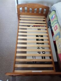Cot bed Rachel wooden from John Lewis with mattress and linen