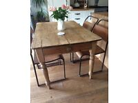 Antique pine dining table and 4 industrial chairs