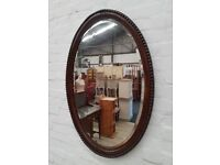 Vintage Oak Wall Mirror (DELIVERY AVAILABLE)