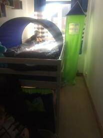 Boys mid sleeper with tent tunnel and tower