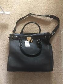 Brand new - Black handbag, leopard print lining
